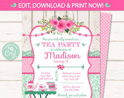 party invitation tea party invitation etsy