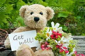 get well soon teddy get well soon teddy with flowers stock photo 453518605 istock