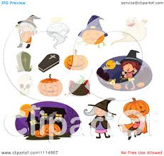 clipart halloween witches trick or treaters and pumpkins royalty