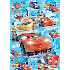 car wrapping paper buy disney cars wrapping paper birthday card and gift tags pack
