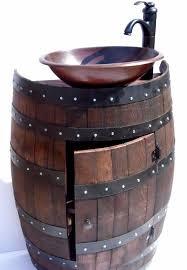 Wine Barrel Vanity Rustic French Wood Wine Barrel Bathroom Sink Vanity With Copper