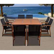Wood Patio Dining Table by Amazonia Victoria Square 9 Piece Teak Patio Dining Set