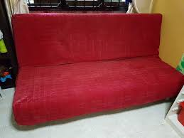Ikea Sofa Red Ikea Sofa Bed 3 Seater With Red Velvet Bedsheet Singapore