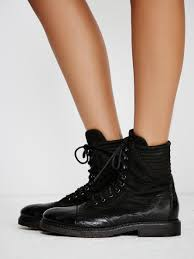 lace up moto boots free people sparrow lace up boot in black lyst
