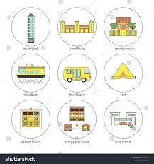 round icons houses different type home stock vector 511981696