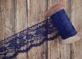 navy blue lace ribbon navy blue polyester raschel flat lace trim 3 5 yards from