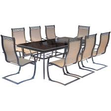 Aluminum Dining Room Chairs Dining - hanover monaco 9 piece aluminum outdoor dining set with