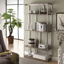 Metal Bookcase Dark Taupe Reclaimed Look Chrome Metal Bookcase Free Shipping