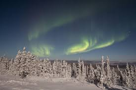 aurora borealis after a fresh snowfall fairbanks alaska on