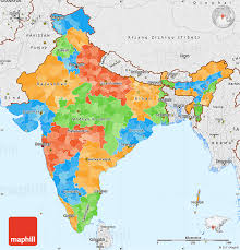 map with labels political simple map of india single color outside borders and