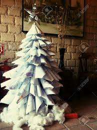 creative xmas tree made by recycle paper stock photo picture and