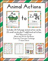 movement and math animal action freebie your therapy source
