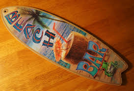 beach bar surfboard sign palm tree cantina tiki coconut umbrella