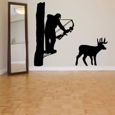 online get cheap deer bedroom decor aliexpress com alibaba group hunter vinyl wall decal hunter man hunting deer bow mural art wall sticker living room bedroom