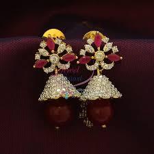 buy jhumka earrings online j0910 cz ruby jhumka earrings buy indian fashion jewellery online
