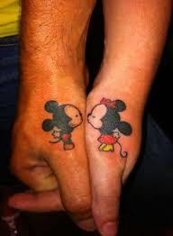 couple tattoo mickey mouse mickey and minnie thumb tattoos tattoomagz