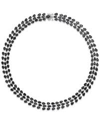 black sapphire necklace images Black sapphire three row necklace in sterling silver 97 ct t w tif
