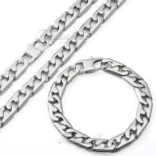 silver necklace bracelet set images Mens chain necklace silver tone stainless steel necklace bracelet set jpg
