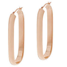 oval hoop earrings bronzo italia bronze 2 linear design milor italy oval hoop