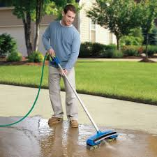 Patio Broom by The Rotating Brush Water Broom Hammacher Schlemmer