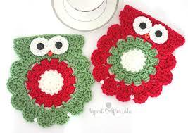 crochet christmas crochet christmas owl coaster or trivet repeat crafter me