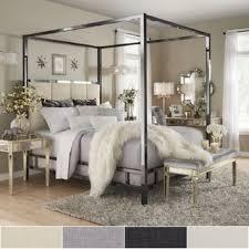 Metal Canopy Bed Solivita Black Nickel Metal Canopy Bed With Vertical Panel