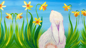 spring painting ideas simple spring bunny and daffodils acrylic painting for beginners