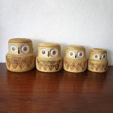 Ceramic Canisters Sets For The Kitchen Vintage Owl Canisters Set Of 4 Pottery Craft These Are Awesome