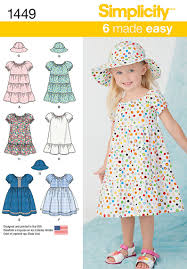 simplicity 1449 toddlers dress and hat in three sizes