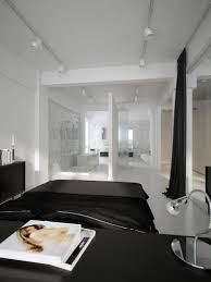 Laminated Timber Floor Black And White Bedroom Design White Black Colors Covered Bedding
