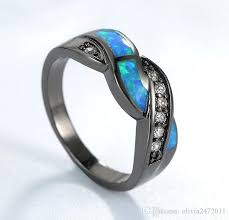 ring weeding new black gold filled blue opal cross rings top quality cz