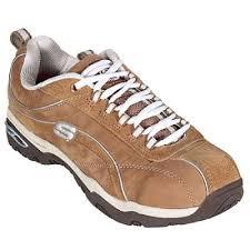 skechers shoes womens brown steel toe meribel shoe 76348brn