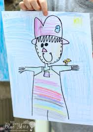 thanksgiving drawings step by step scarecrow directed drawing first grade blue skies