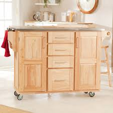 Kitchen Cabinet On Wheels Furniture Modern White Stained Pine Kitchen Island Which Beautify