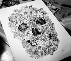 skull floral skull pencil and in color skull floral