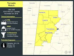 Map Of Alabama Counties Tornado Watches Issued For West Alabama Counties Shelters Listed