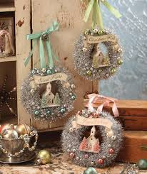 pastel tinsel wreaths with church bethany lowe