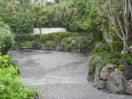 Volcanic Rock Garden Cobblestone Driveway And Rock Garden Walls Asian Landscape