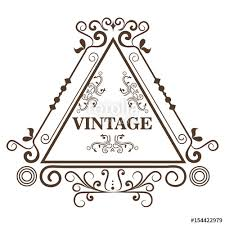 ornamental triangle shaped frame and vintage sign white
