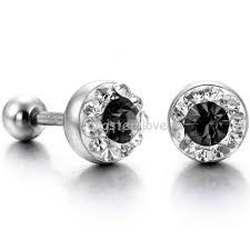 mens stud earrings fashion shiny cubic zirconia cz 316l stainless steel mens stud
