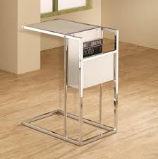 Laminate Timber Flooring Glamorous Snack Table With Shiny Stainless Frames Combined White