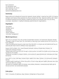 Resume Ongoing Education Professional Community Outreach Worker Templates To Showcase Your