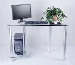 Corner Computer Desk Amazon Com Tier One Designs Clear Glass Computer Desk With Tower