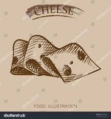 graphic hand drawn cheese sketch vector stock vector 539309338
