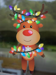 Double Sided Christmas Window Decorations by Happy Christmas Reindeer High Quality Double Sided Static Cling