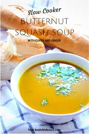 slow cooker butternut squash soup with curry and ginger bowl