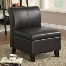 Leather Accent Chairs For Living Room Black Armless Leather Accent Chair With Storage And Wooden Leg For