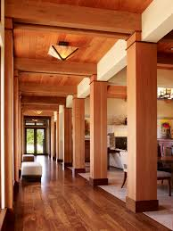 French Doors Wood - hickory wood floors hall contemporary with wood columns tile floor