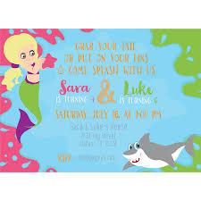 mermaid and shark birthday invitation kateogroup