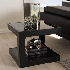 modern black end table baxton studio clara black modern end table with 2 glass shelves